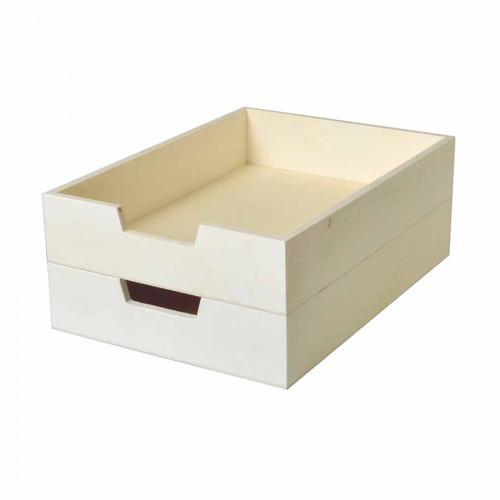 Lot de 2 bacs courrier A4 en bois