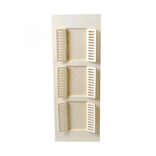 Cadre en bois 3 fenêtres - 18 x 50 cm
