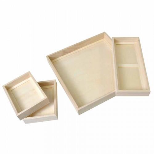 Set de 4 plateaux emboitables - 32,5 x 32,5 x 6 cm