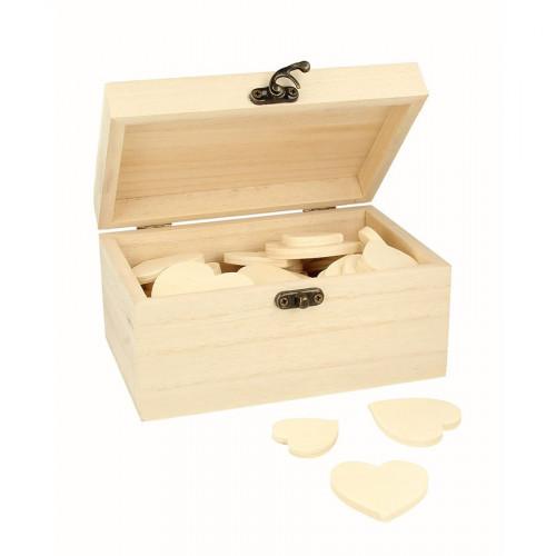 Boîte en bois avec 53 cœurs - 15 x 10 x 8 cm