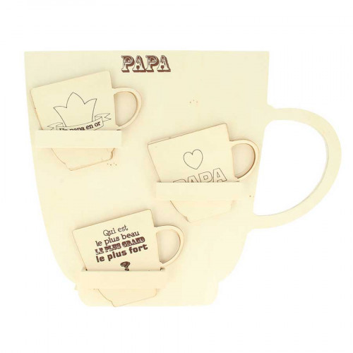Présentoir 24 tasses Papa - 35 x 28 x 4 cm