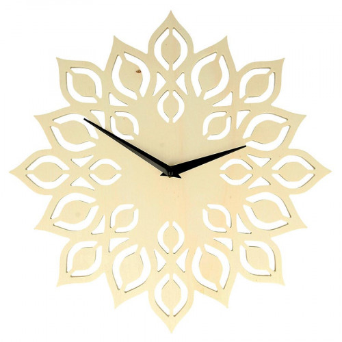 Horloge Fleur en bois - 30 cm
