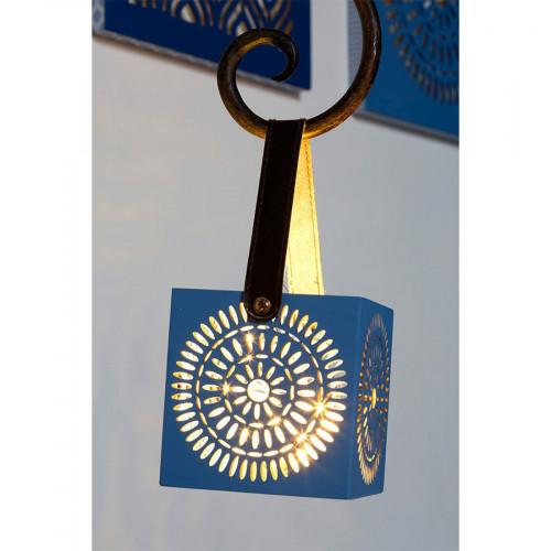 Lanterne en bois Blue Ethnic - rosace - 10 x 10 cm