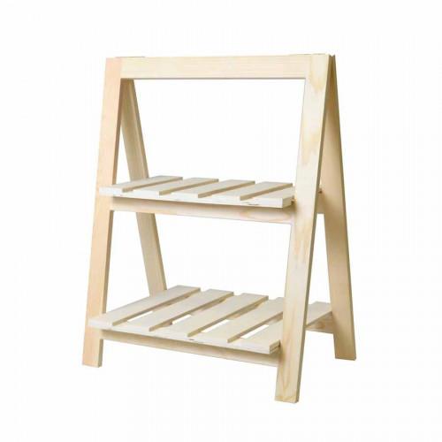 Etagère 2 niveaux en bois - 25 x 41 x 51 cm