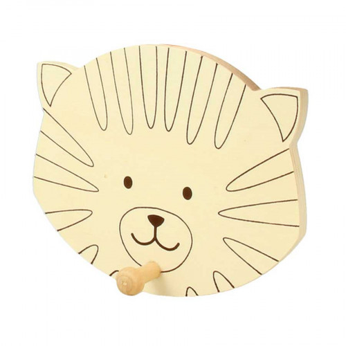 Patère en bois Tête de chat - 10 x 12 cm