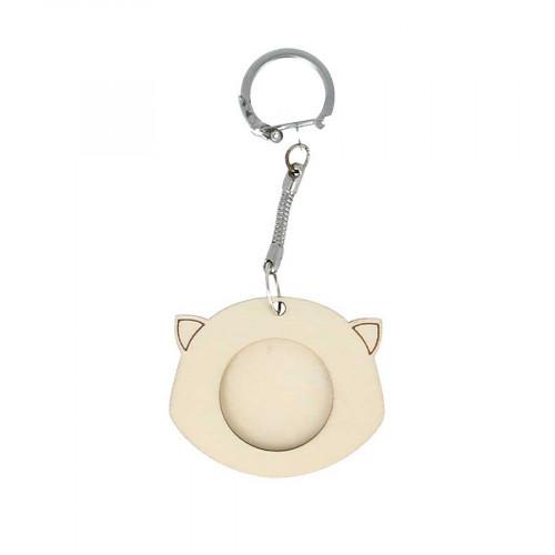 Porte-clés Tête de chat en bois - 5 x 4,2 cm