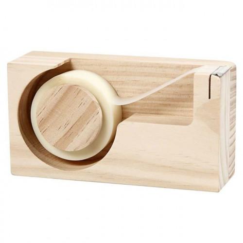 Distributeur de ruban adhésif en bois