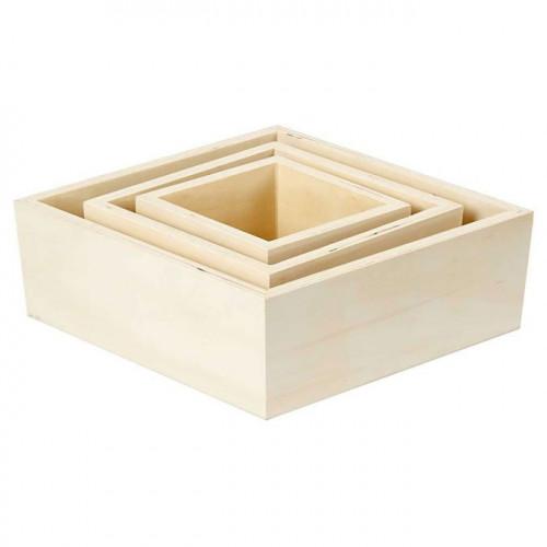 Boîte de rangement losange en bois - 3 pcs