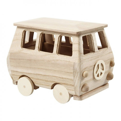 Minibus en bois - 17 x 10 x 13 cm