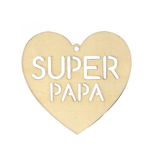 Silhouette en bois Cœur Super Papa - 16 x 16 cm