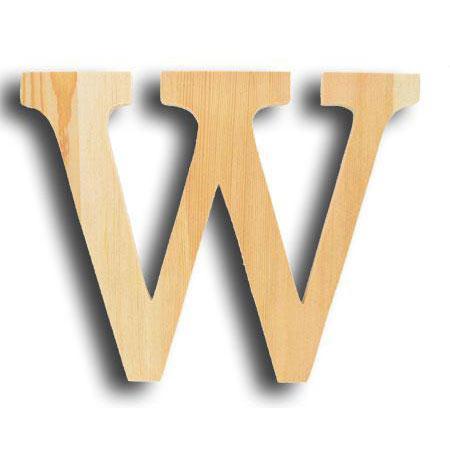 Support à décorer en bois - Lettre grand modèle - W - 24,5 x19 cm