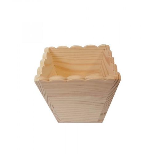 Cache-pot en bois Bord ondulé - 10,8 x 9 cm