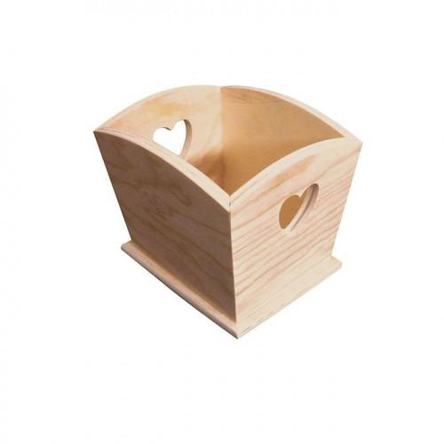 Cache-pot en bois Coeur - 12 x 10 x 10 cm