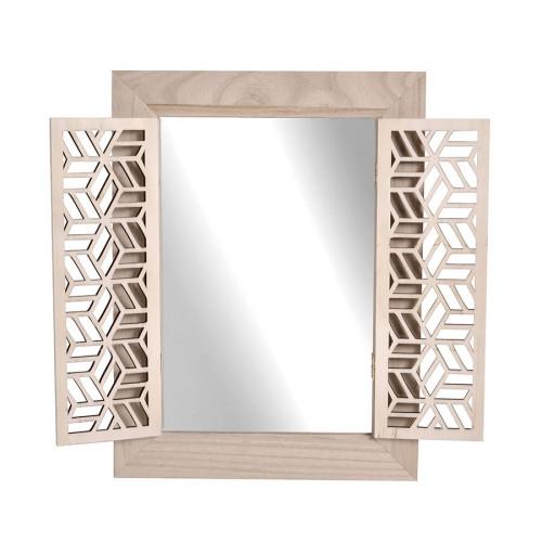 Miroir avec volets en bois - 30 x 40 x 1,5 cm