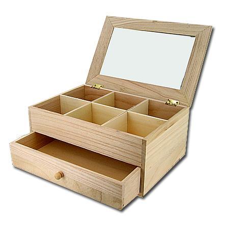 Support à décorer en bois - Coiffeuse - 6 compartiments et 1 tiroir - 26 x 17,5 x 11,5 cm
