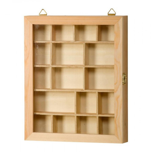 Vitrine à compartiments en bois - 23 x 4 x 28 cm