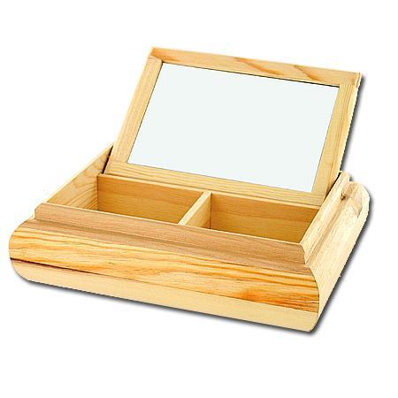 Support à décorer en bois - Coffret rectangulaire miroir - 21 x 16 x 5 cm