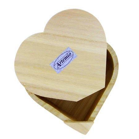Support à décorer en bois - Boite coeur - 15 x 14 cm