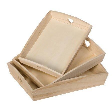 Support à décorer en bois - Set de 3 plateaux coeur - Dimensions du plus grand plateau : 35 x 27 cm