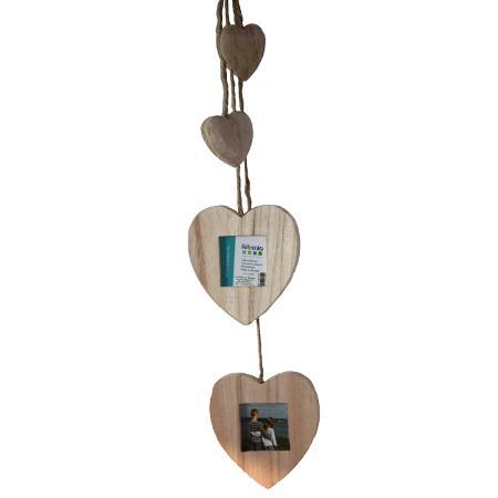 Support à décorer en bois - Cadres cœurs et petits cœurs à suspendre - 22 x 9 cm