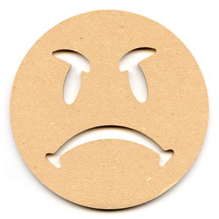 Support à décorer en bois medium - Smiley boudeur - 15 x 15 cm