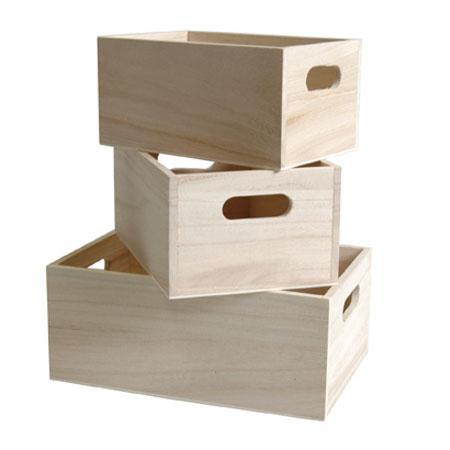 Support à décorer en bois - 3 Casiers - Grand modèle 21 x 12 cm