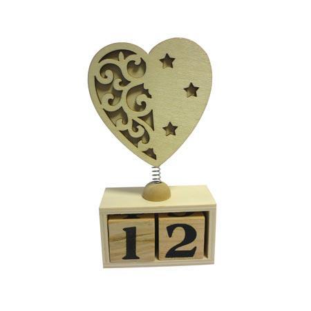 Support à décorer en bois - Calendrier perpétuel - Cœur - 15 x 7.5 cm