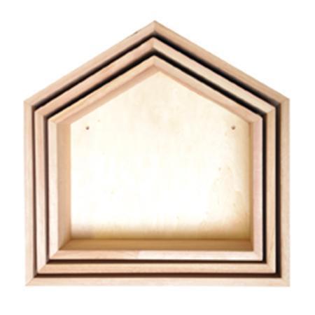 Set de 3 étagères maison en bois 30 x 30 cm