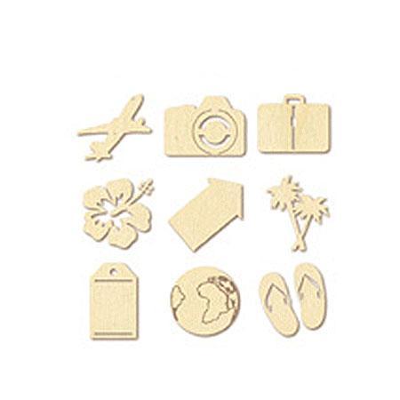 Sujet à décorer en bois - Mini silhouettes - Voyage - Dimensions d'une pièce : 1.8 x 2.8 cm