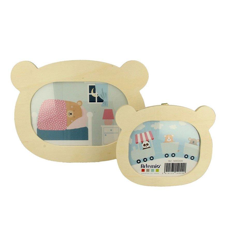 Cadres plats en bois - Adorable - Tête d'ours x 2 pcs