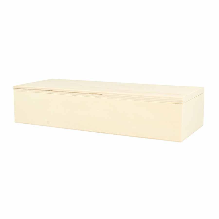 Boîte rectangulaire en bois avec couvercle - 23 x 9 x 5 cm