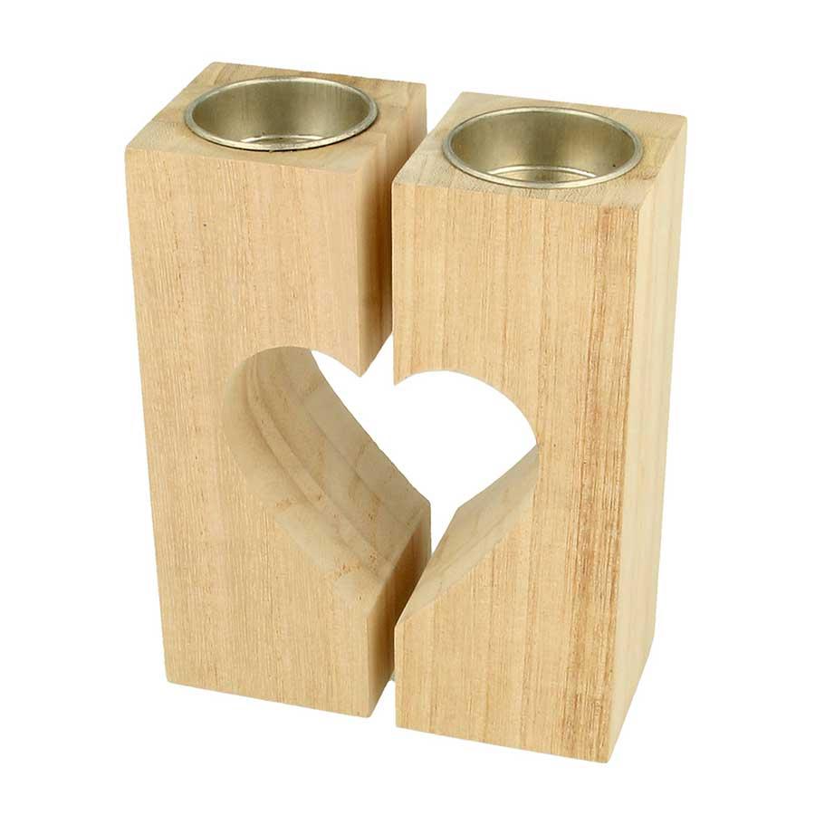 Set de 2 bougeoirs Cœur en bois - 11 x 14,8 x 5,6 cm