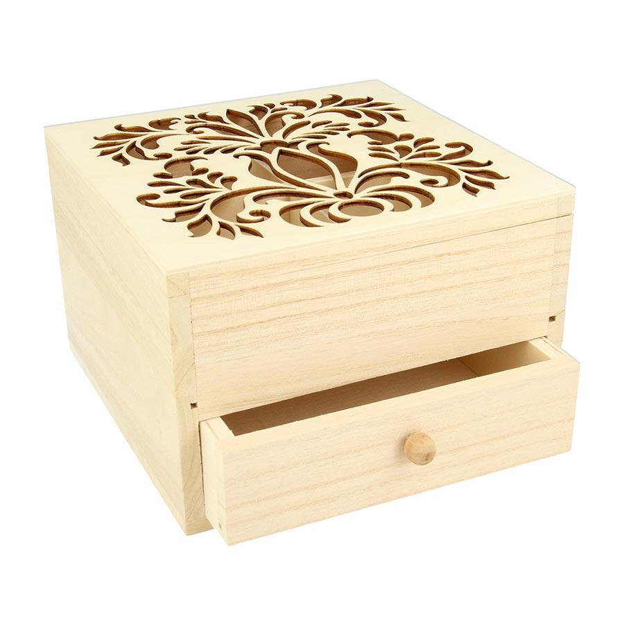 Boîte à bijoux en bois - 16 x 16 x 10 cm