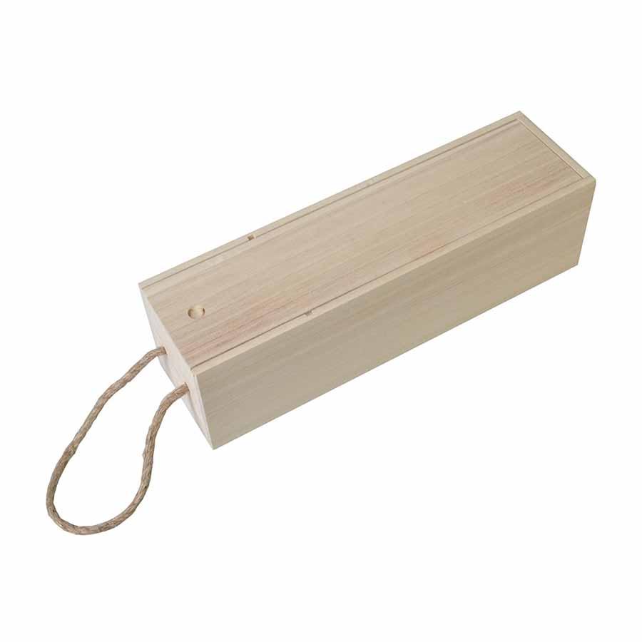 Boîte en bois pour bouteille - 10 x 10 x 35 cm