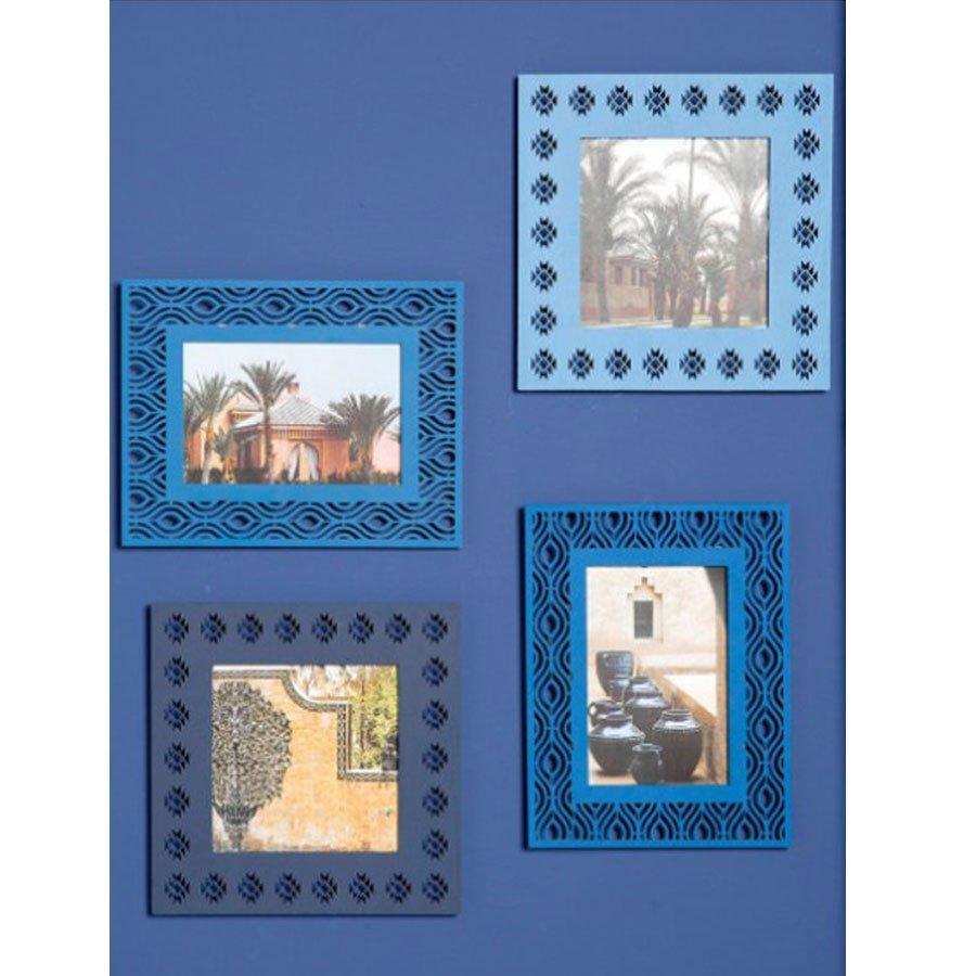 Cadre ajouré en bois Blue Ethnic - 17 x 22 cm