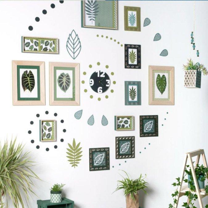 Cadre ajouré en bois Feuilles Deep Green - 20 x 20 cm