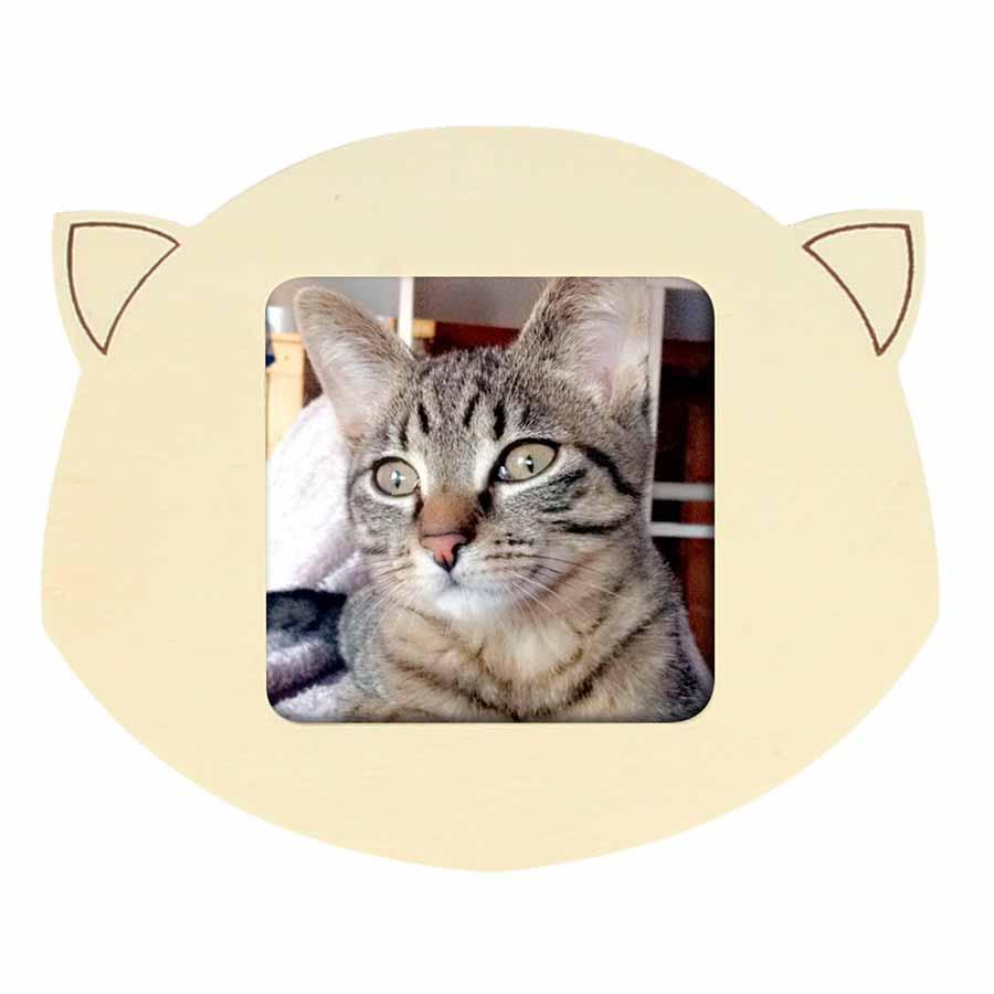 Cadre photo Tête de chat en bois - 10 x 12 cm