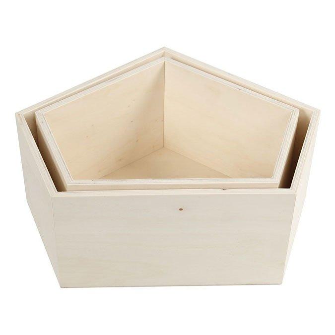Boîte de rangement pentagone irrégulier en bois - 2 pcs