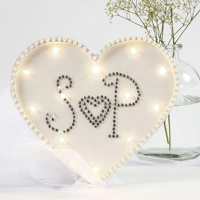 Boîte lumineuse Cœur en bois - 21 x 23,5 cm