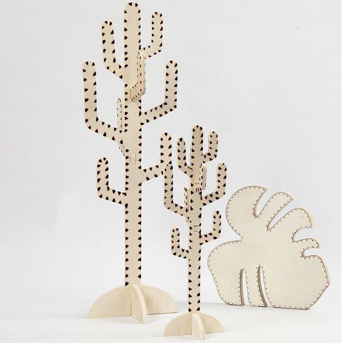Cactus en bois - 38 cm