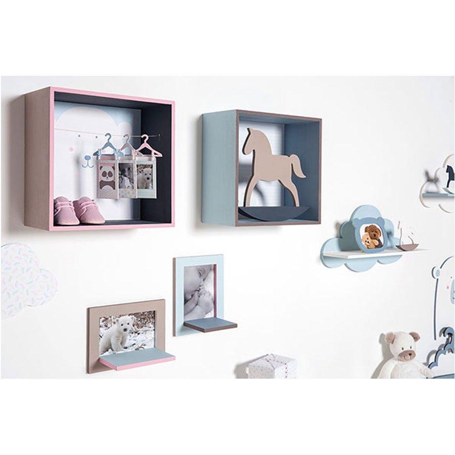 Montgolfière et souris en bois - Adorable - 36 x 24 cm