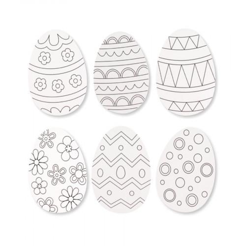 Œufs de Pâques en carton - 10 x 16 cm - 6 pcs