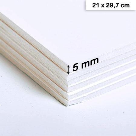 Carton mousse blanc - 5 mm - 21 x 29,7 cm