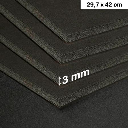 Carton mousse noir - 3 mm - 29,7 x 42 cm