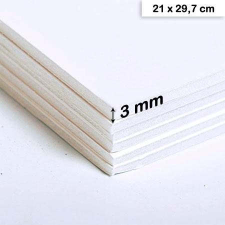 Carton mousse blanc - 3 mm - 21 x 29,7 cm