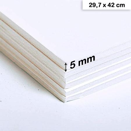 Carton mousse blanc - 5 mm - 29,7 x 42 cm