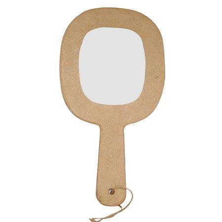 Support à décorer en papier mâché - Miroir à main avec cordon - h. 21,5 cm