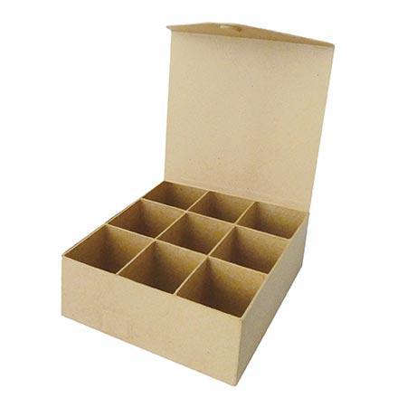 Support à décorer en papier mâché - Boîte à thé - 21 x 10 x 7,5 cm
