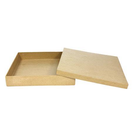 Support à décorer en papier mâché - Boîte carrée - 21 x 21 x 3,5 cm