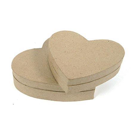 Support à décorer en papier mâché - Boîte cœur (XXS) - 9 x 7 x 2,5 cm
